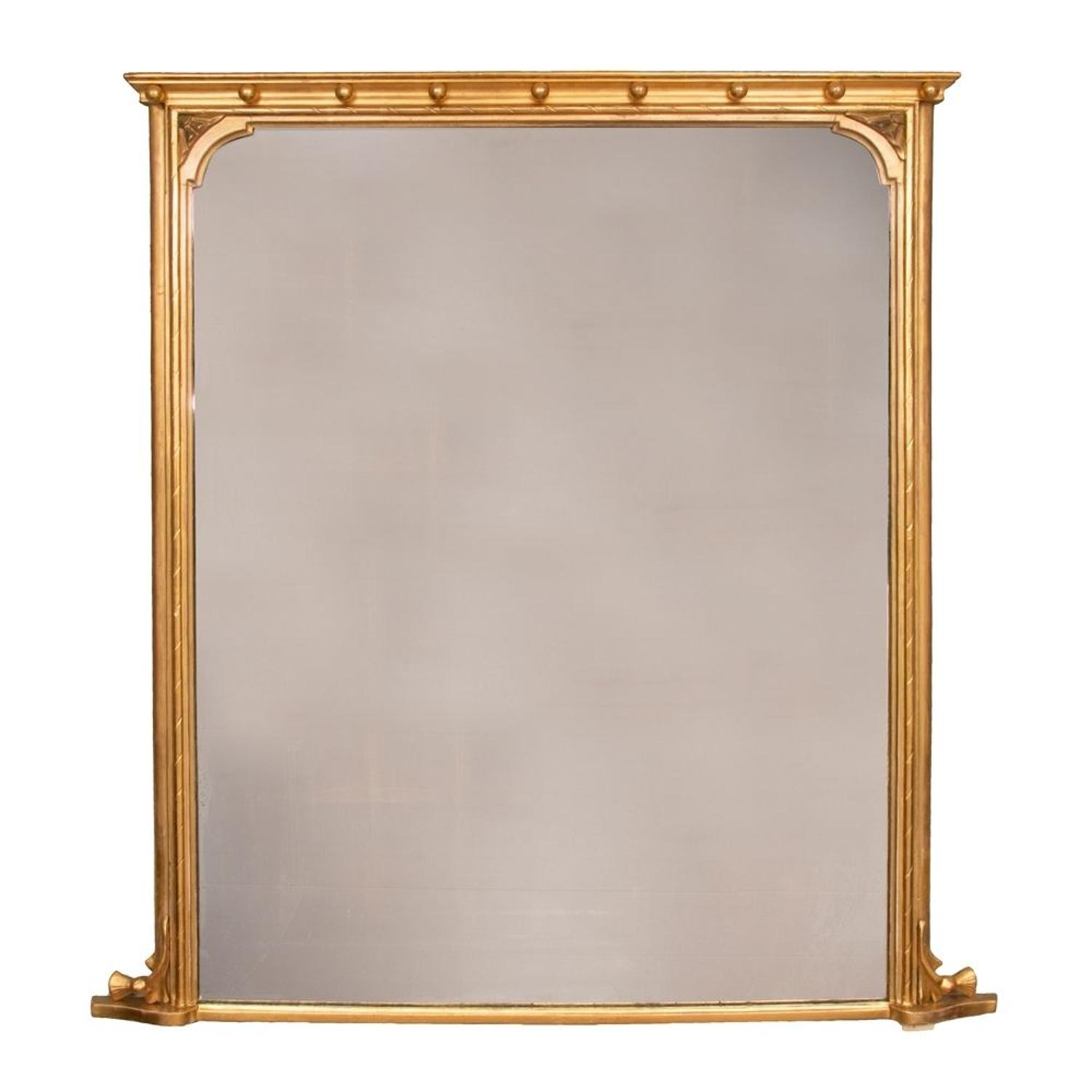 19th Century Gilded Overmantle Mirror