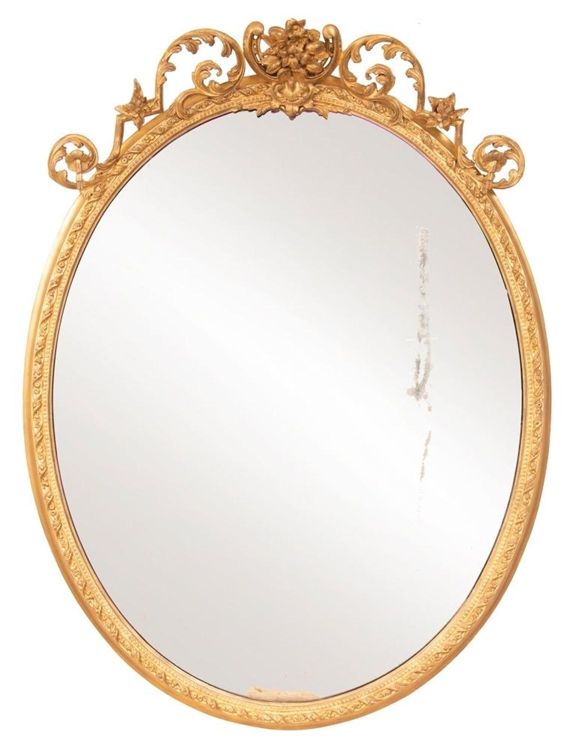 Antique Gilded Oval Mirror c.1820
