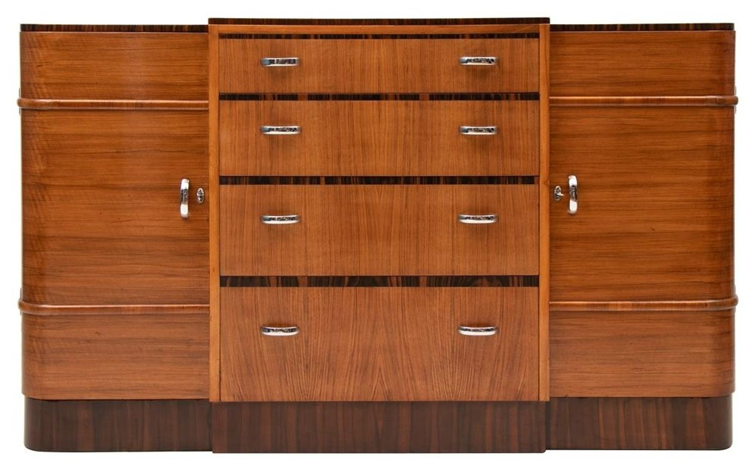 British Art Deco Walnut & Rosewood Sideboard by Heals