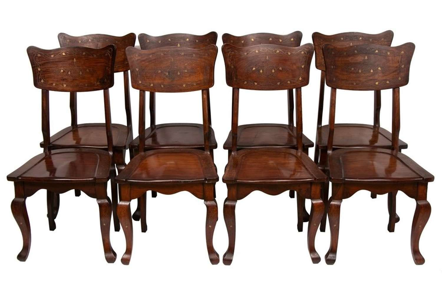 Set of 8 Anglo Indian Brass Inlaid Chairs