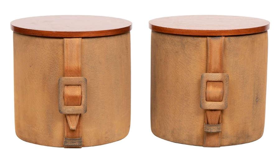 Pair of Midcentury Suede Container Stools c.1960