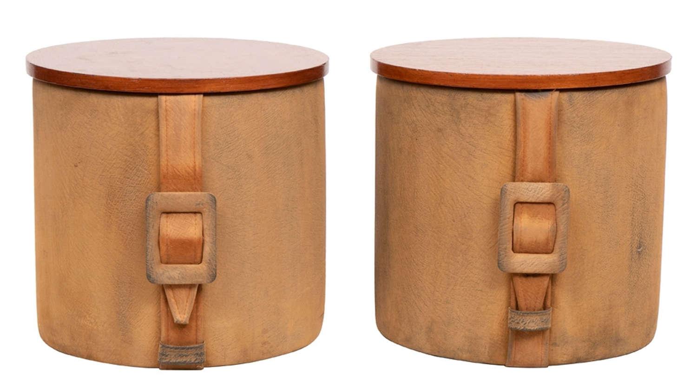 Pair of Midcentury Suede Container Stools c.1960