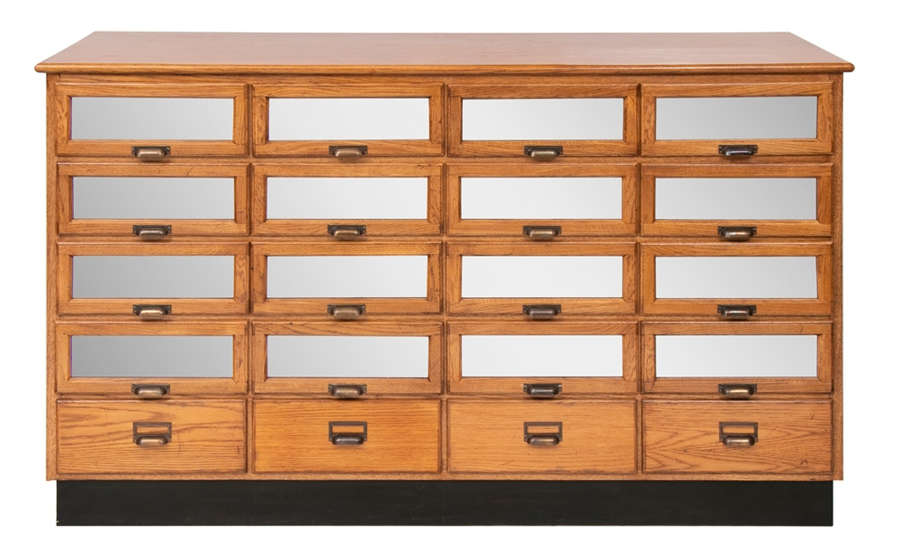 Vintage Style Haberdashery Drawers with Mirrored Front