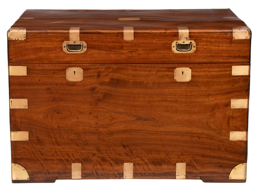 Antique Camphor Wood Military Campaign Trunk c.1850