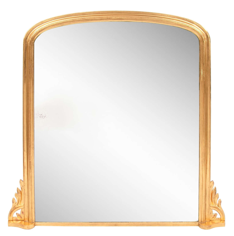 Antique Gilded Overmantle Mirror c.1865