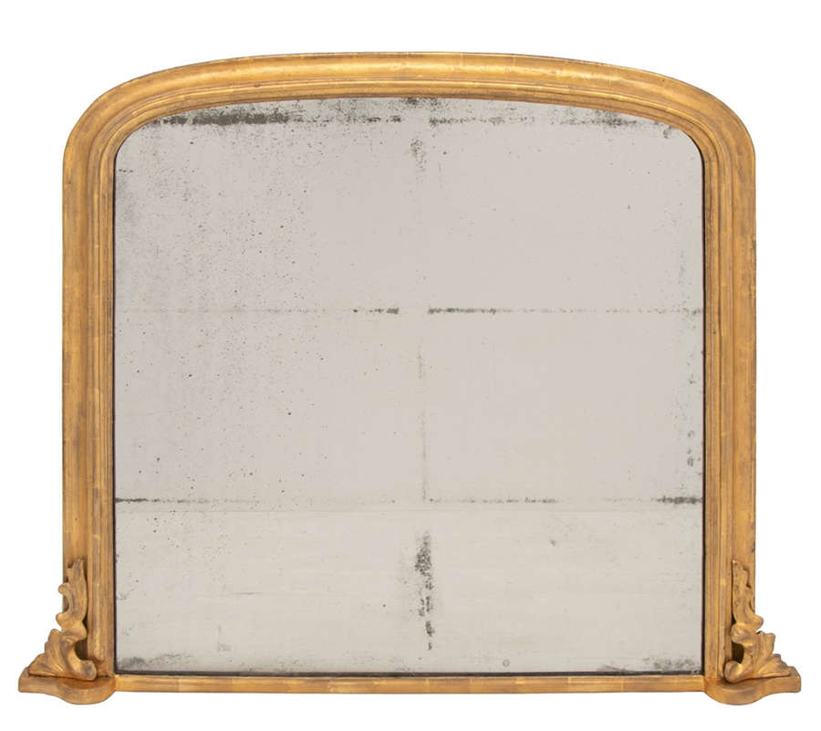 Antique Gilded Overmantle Mirror c.1860