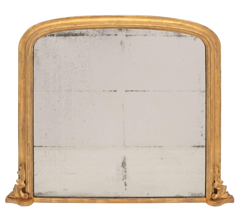 Antique Gilded Overmantle Mirror c.1860