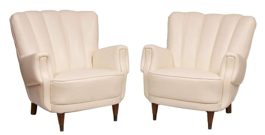 Pair of Art Deco Ivory Leather Armchairs c.1930