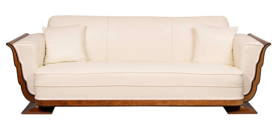 Art Deco Walnut & birds eye maple Leather Sofa c.1930s