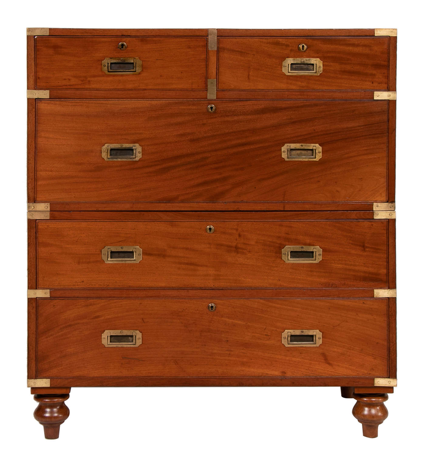 A Superb 19th Century Military Mahogany campaign chest on chest