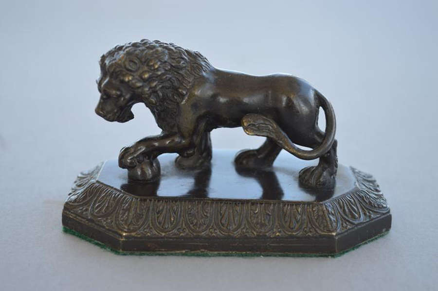 Original antique bronze lion sculpture