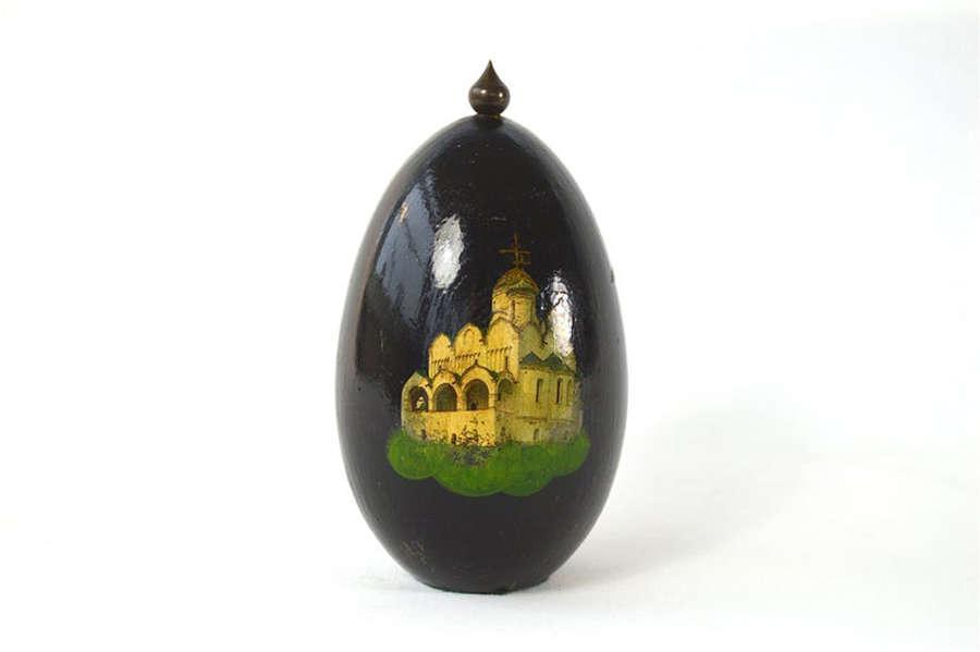 Unusual painted egg ornament