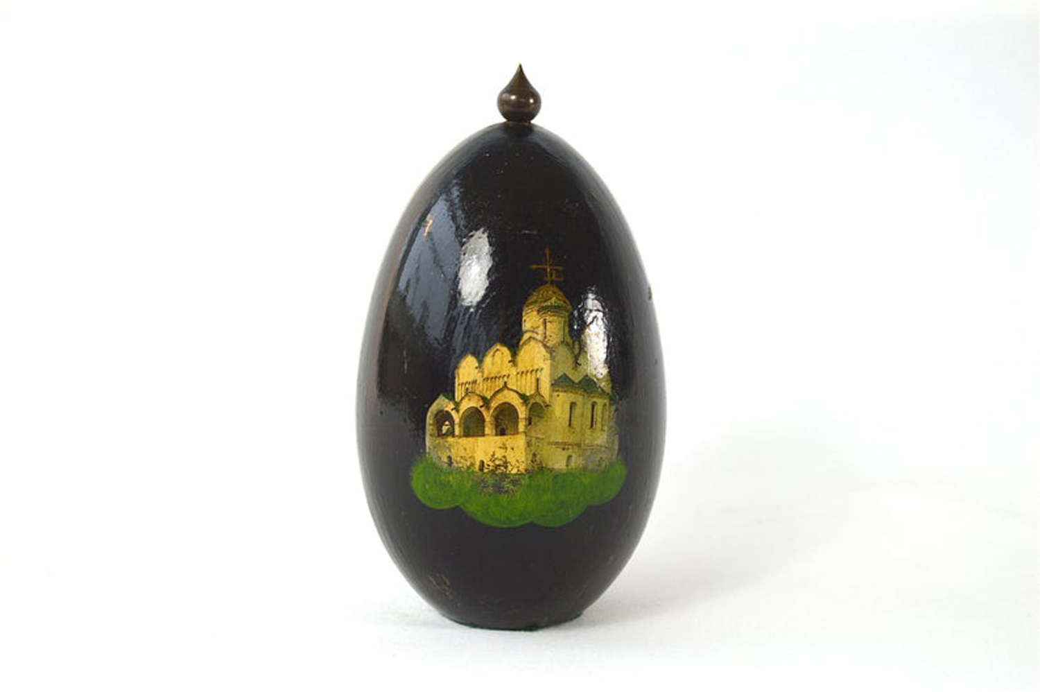 Unusual painted egg ornament