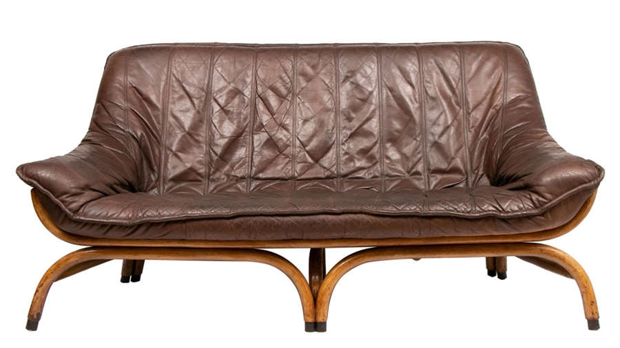 Midcentury Brown Leather Saddle Stitched Sofa