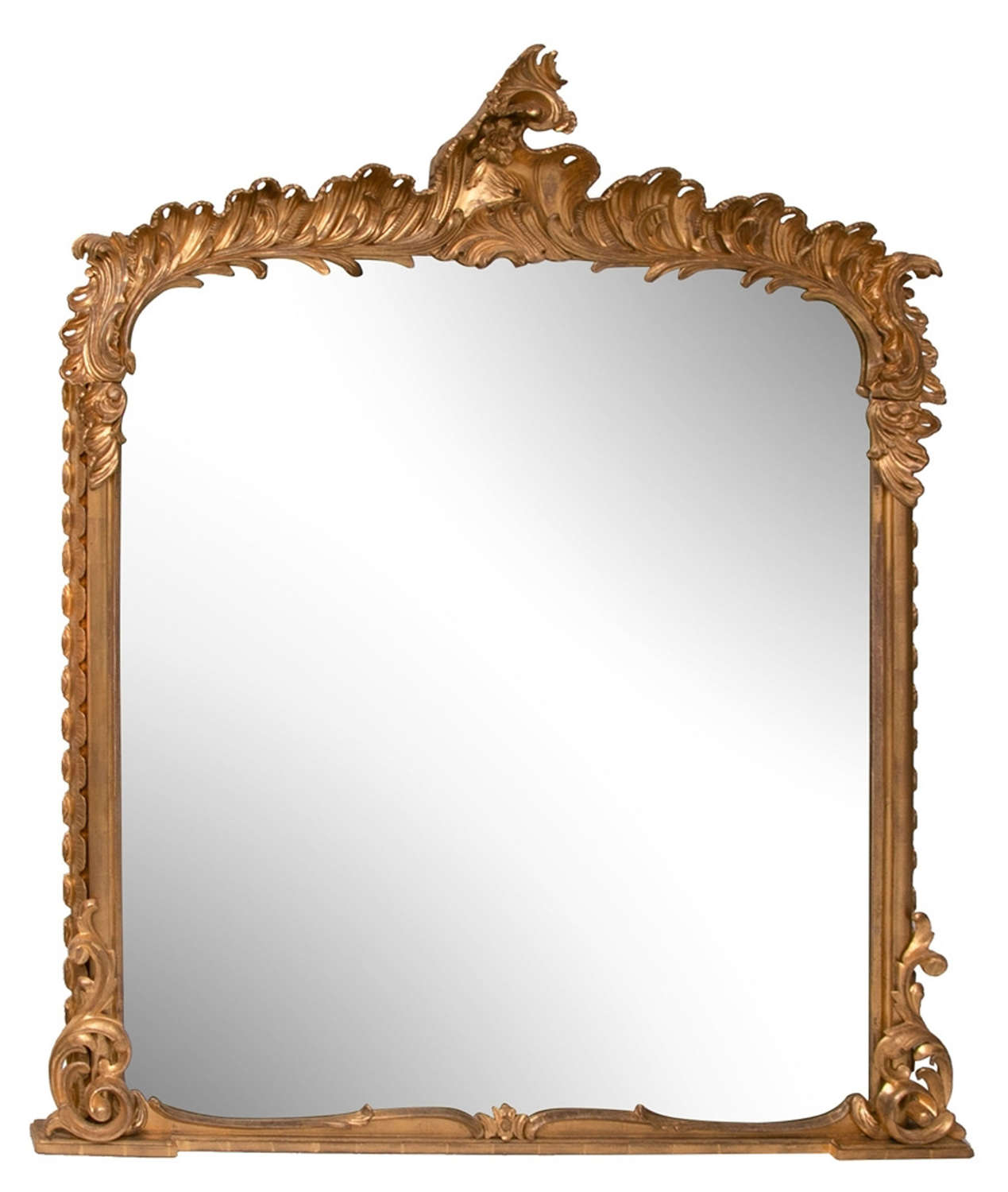 Georgian Hand carved water gilded Antique overmantle mirror