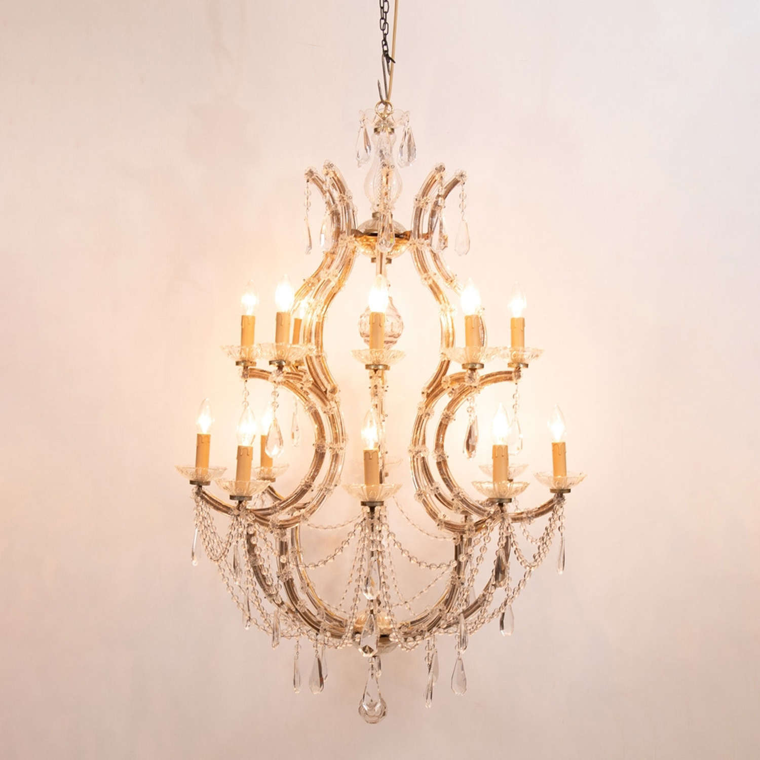 Vintage French Maria Theresa Birdcage Chandelier c.1940