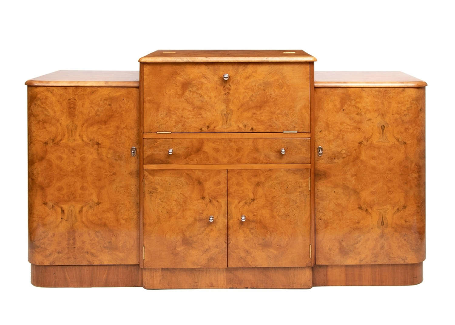 British Art Deco Walnut Cocktail Cabinet c.1930