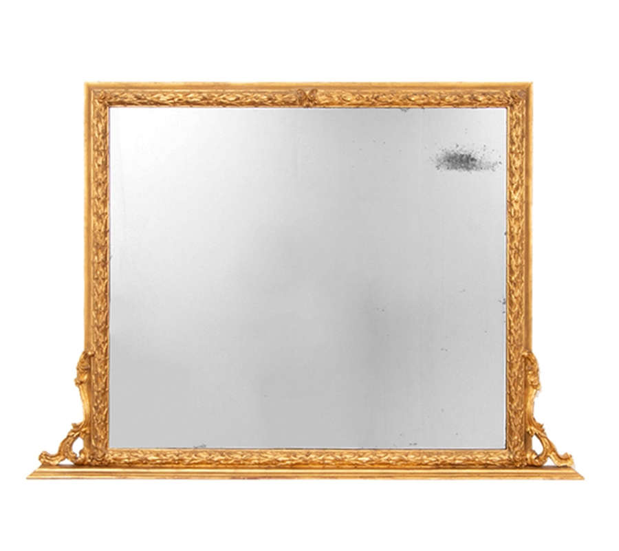 Antique Gilt Over Mantle Mirror