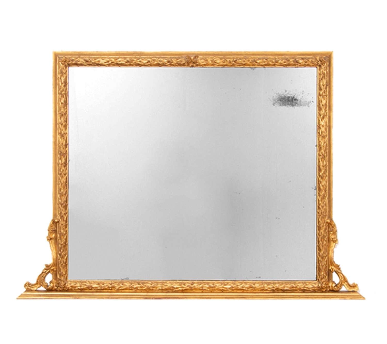 Antique Gilt Over Mantle Mirror