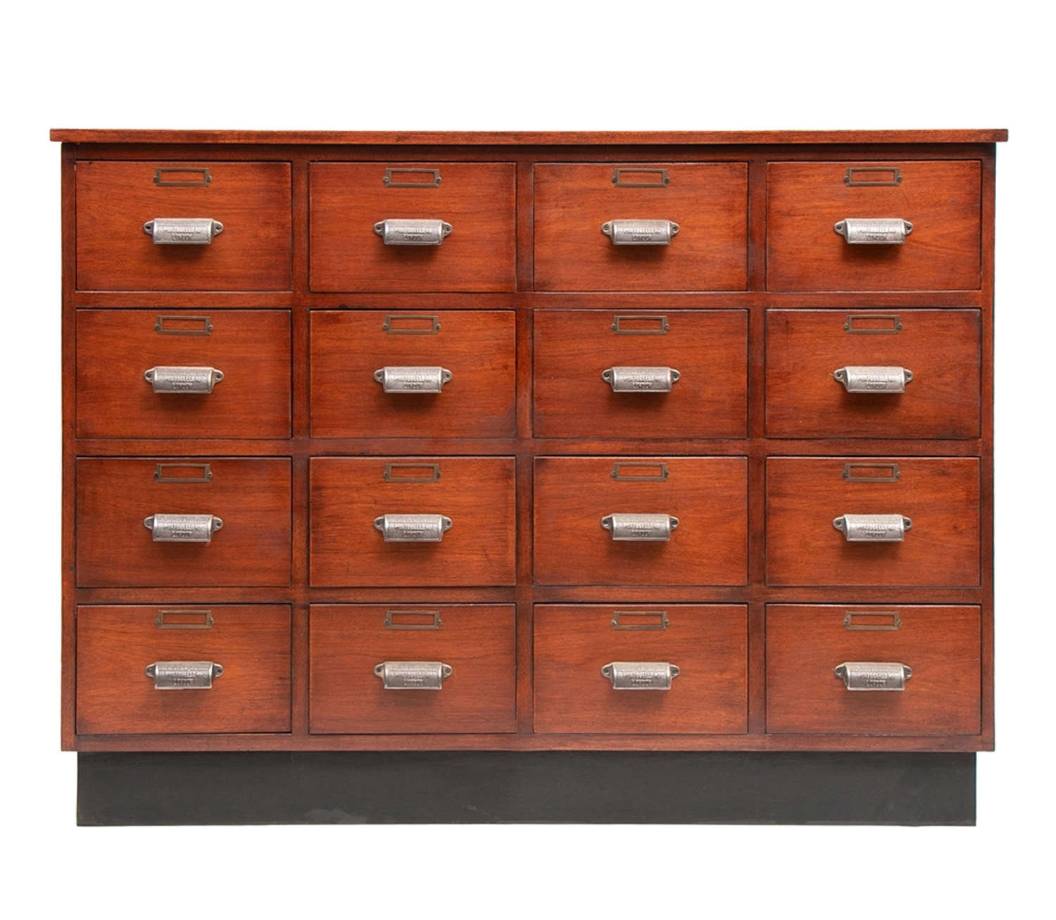 A contemporary bank of drawers made in mahogany