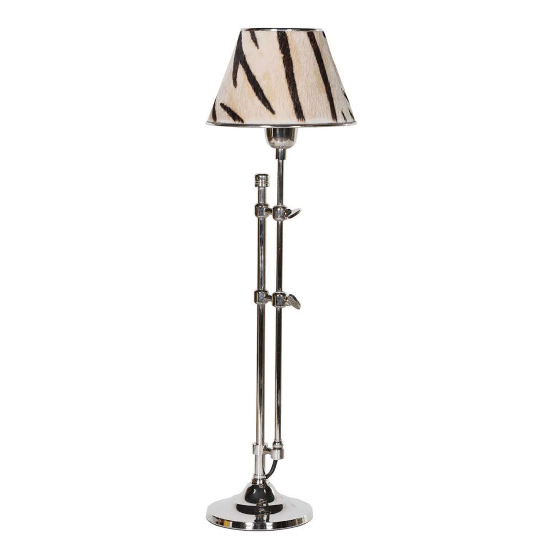 Nickel Lamp with Zebra Shade