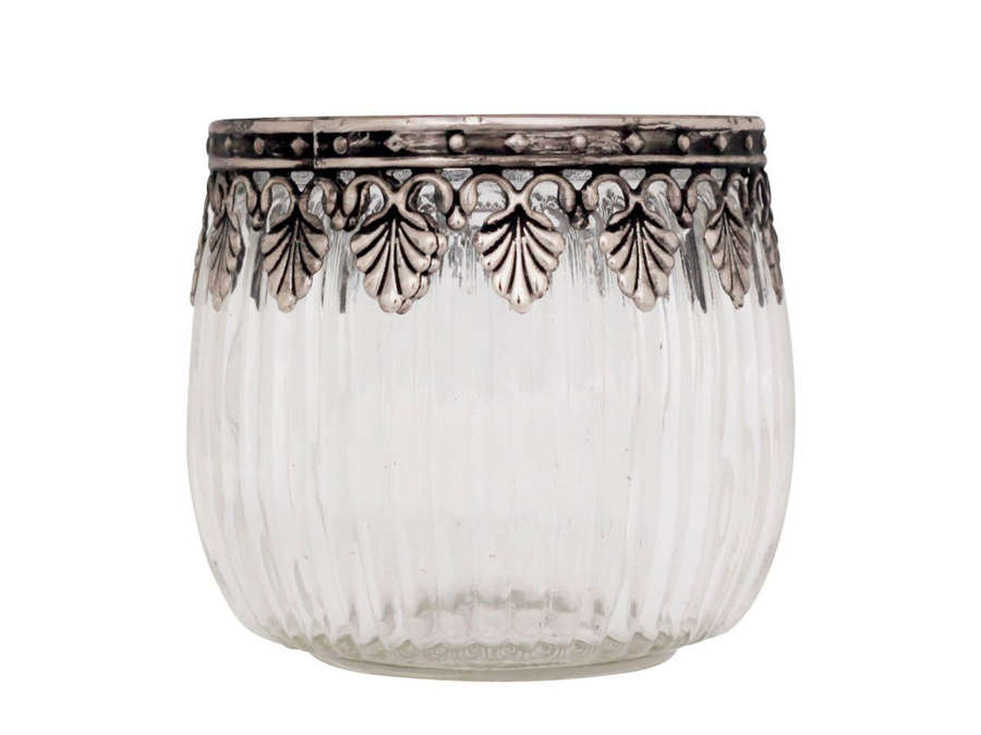 Silver & Glass Tealight Holder