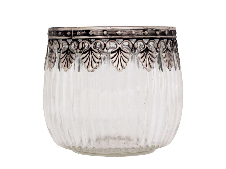 Silver & Glass Tealight Holder