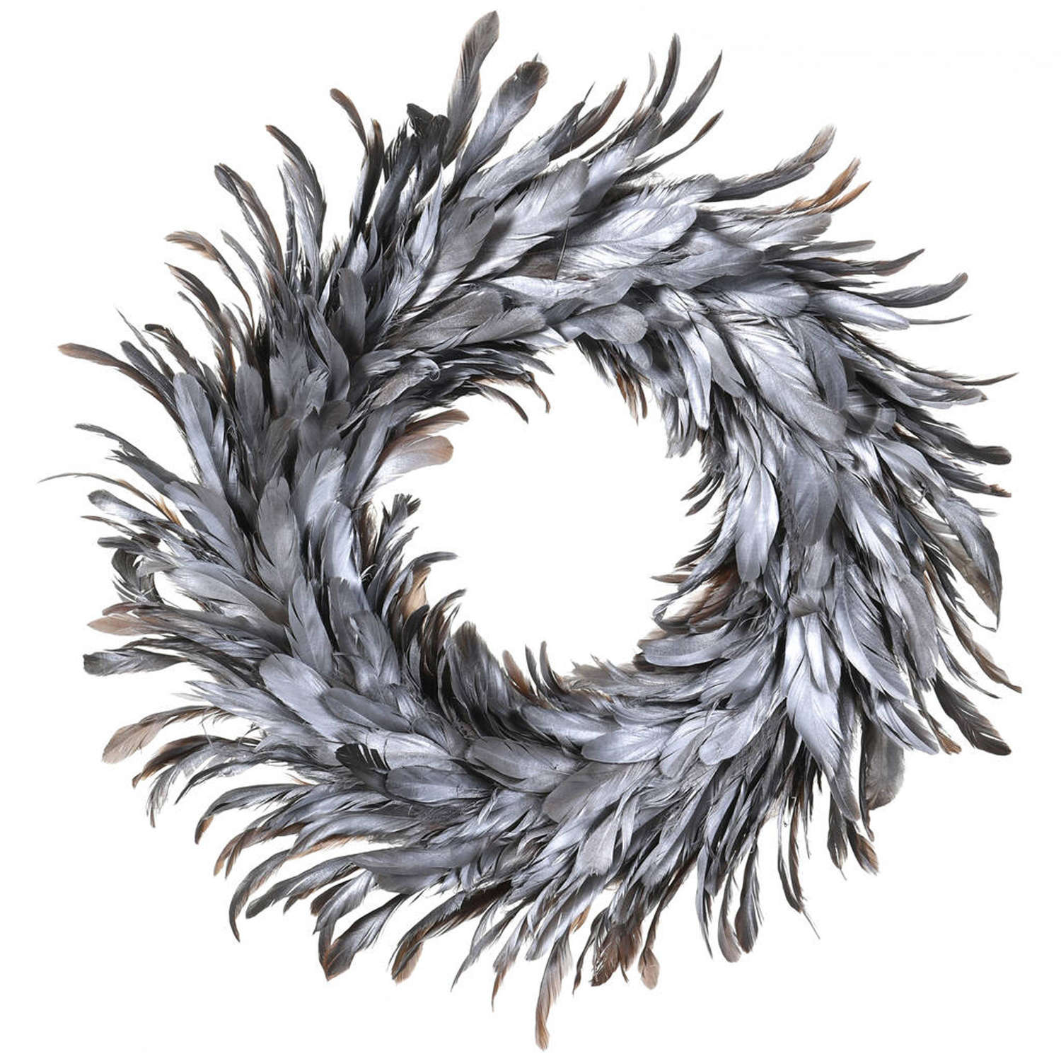 Silver Feather Wreath