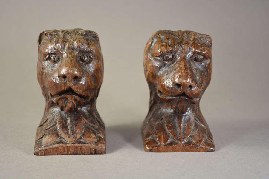 English hand carved oak lions head