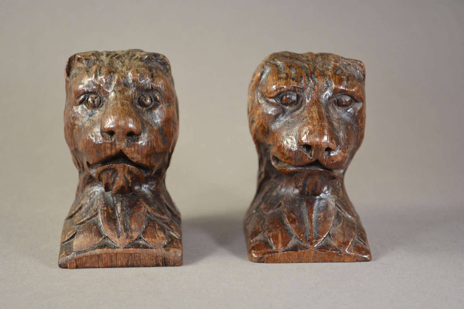 English hand carved oak lions head