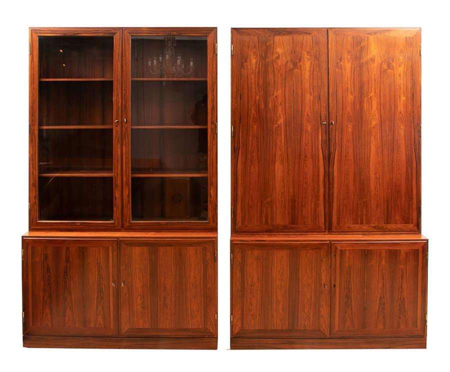Pair of Danish Kai Winding Rosewood Alcove Bookcases c.1970