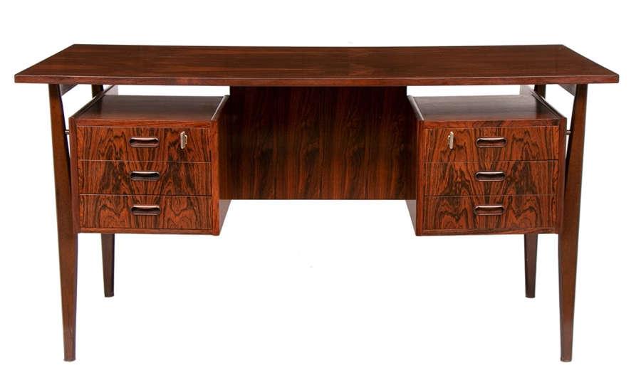 Danish Midcentury Rosewood Floating Desk c.1970