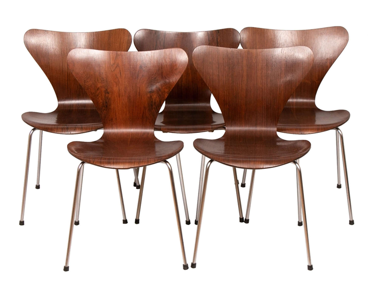 Set of 5 Series 7 Model 3107 Rosewood Chairs by Arne Jacobsen c.1960