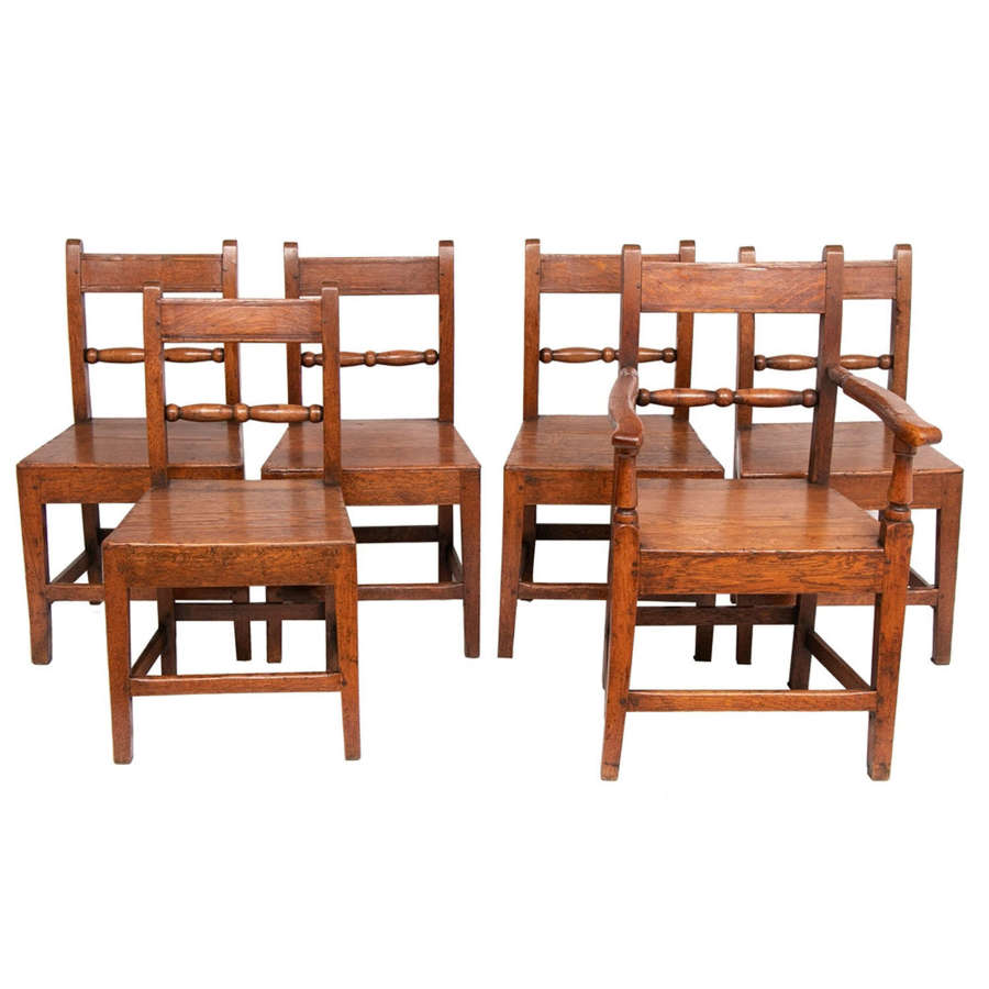 Early 1740s English Oak Set of Six Dining Chairs