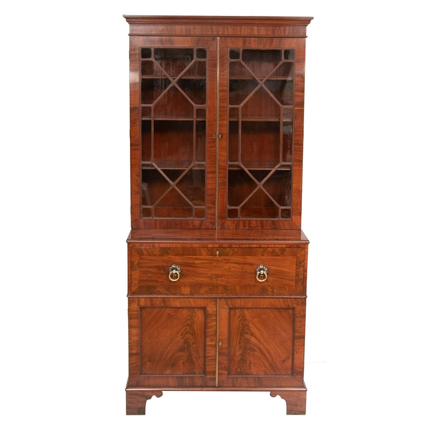 Small Early Georgian 1780-1800 Mahogany Secretaire Bureau Bookcase