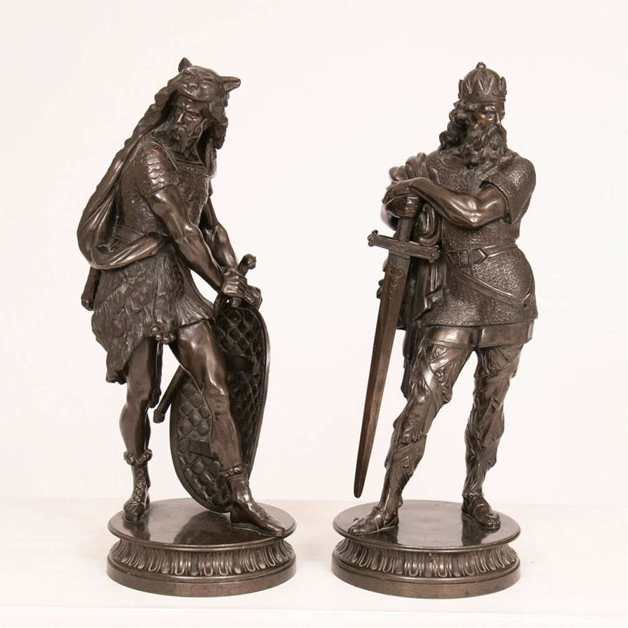 Pair of Large French Bronze Statues c.1890