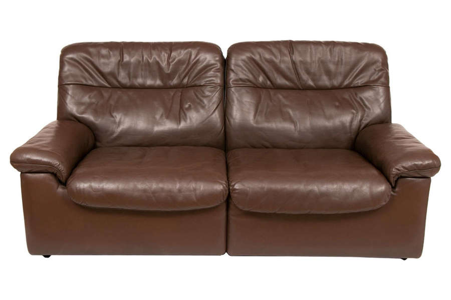 Midcentury De Sede Chocolate Brown Leather Sofa DS-63