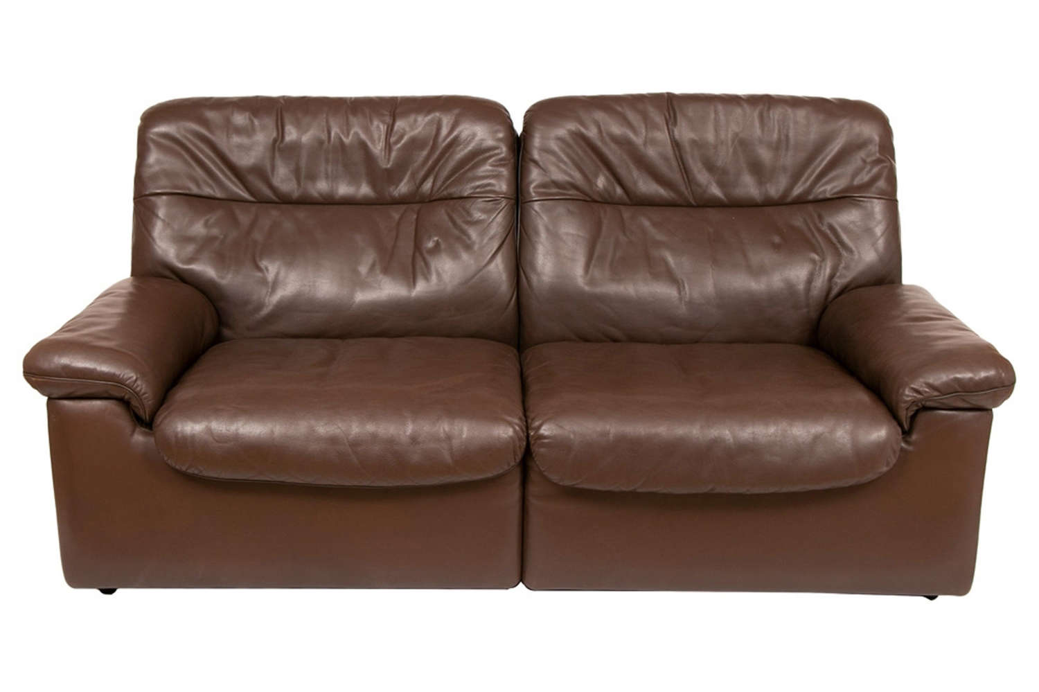 Midcentury De Sede Chocolate Brown Leather Sofa DS-63