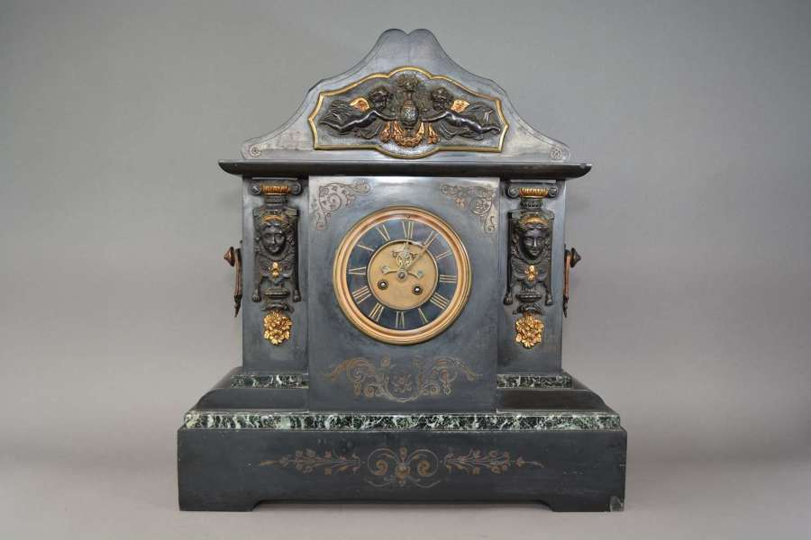 Victorian bronze mounted slate and marble mantel clock
