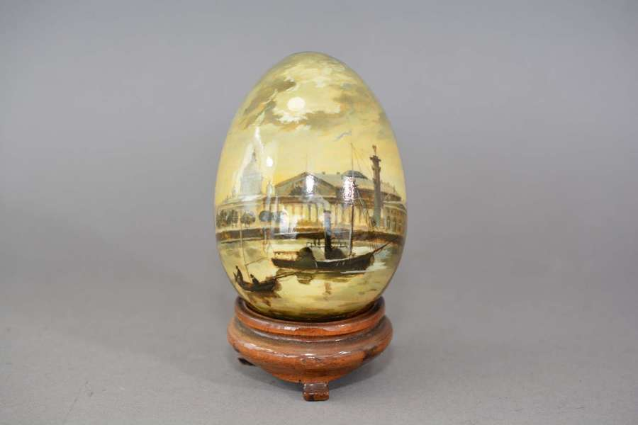 Vintage hand painted Russian wooden egg signed