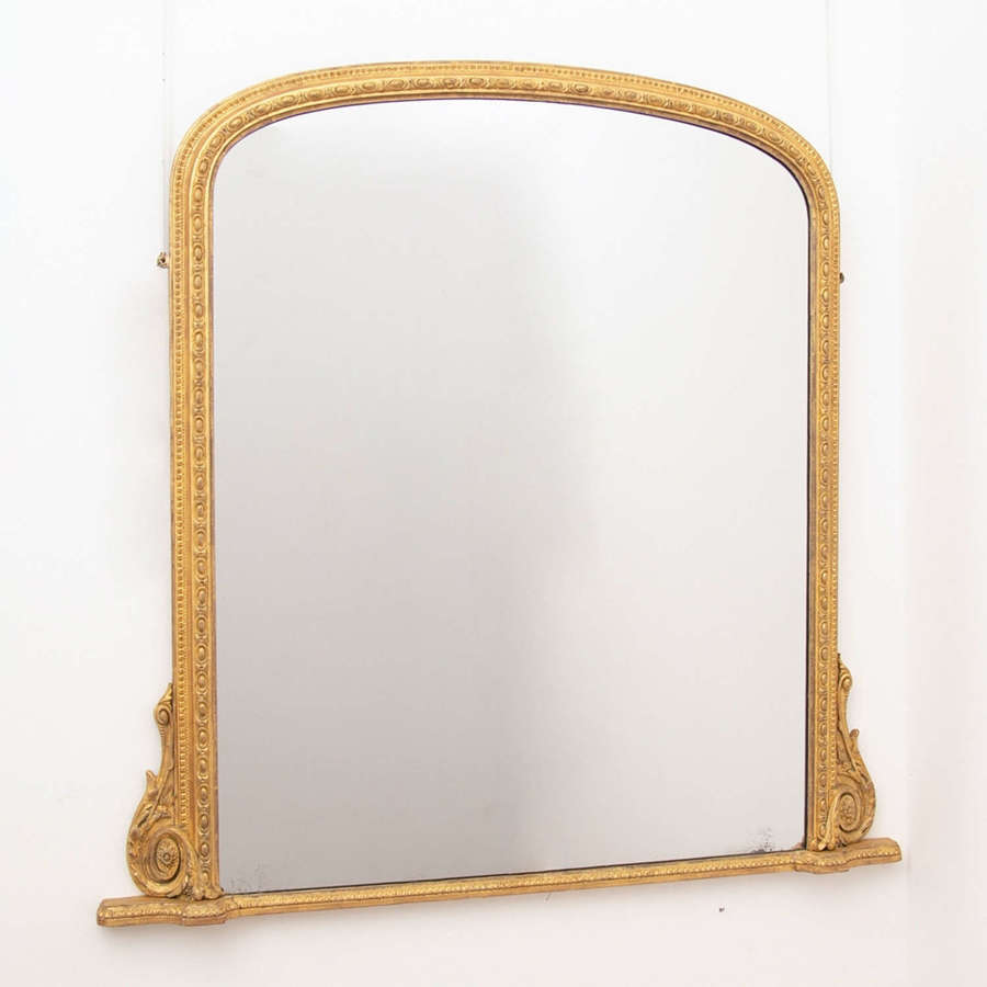 Water Gilded English Over Mantle Mirror