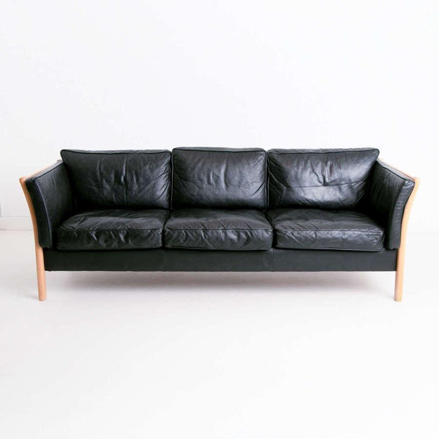 Black Leather Stouby Sofa c.1960
