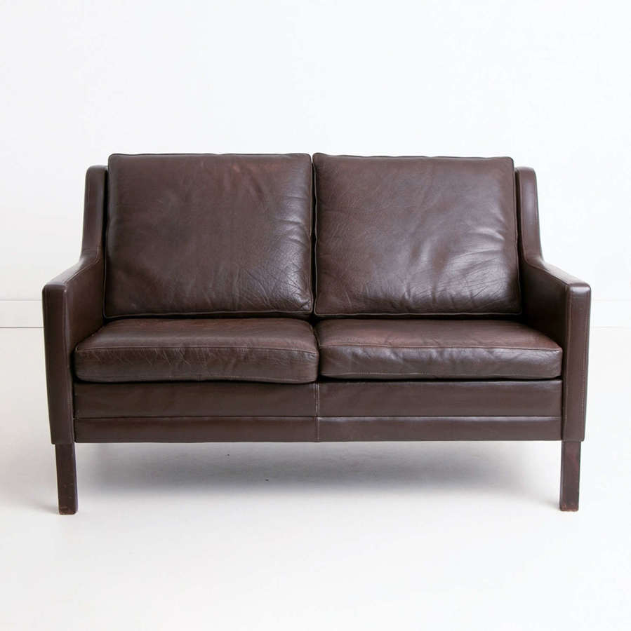 Vintage Danish Brown Leather Two Seater by Mogens Hansen c.1960