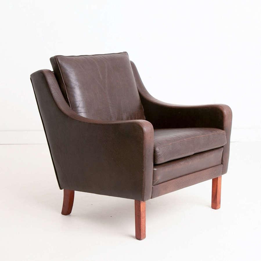 Vintage Danish Brown Leather Armchair by Mogens Hansen c.1960