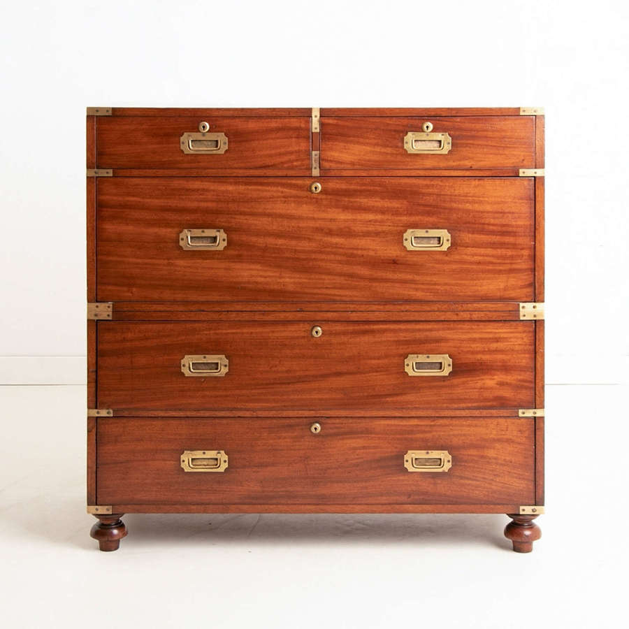 Antique Military Campaign Travelling Chest on Chest c.1850