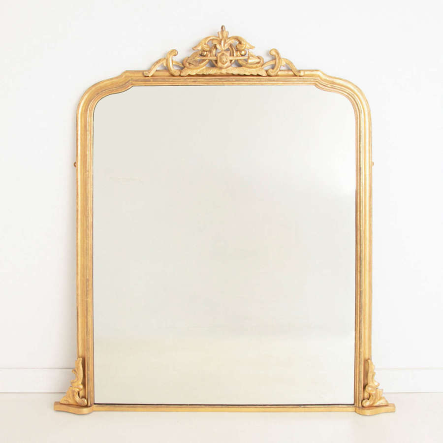 Crested English Gilded Overmantle Mirror