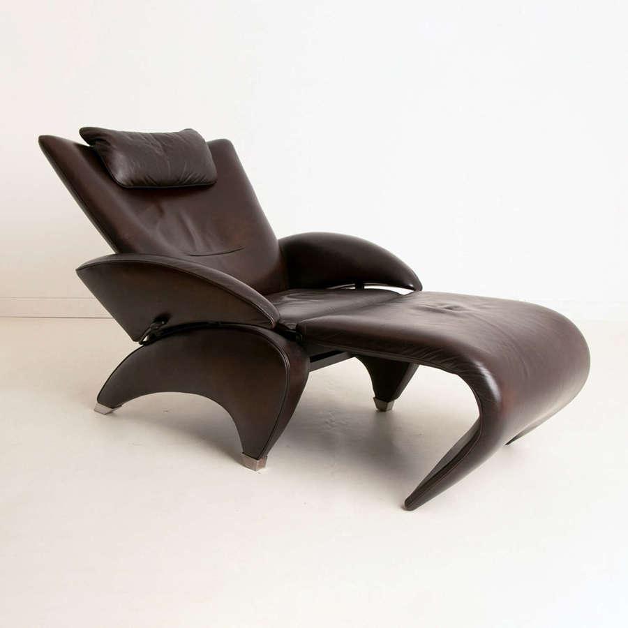 De Sede Recliner Armchair with Footstool